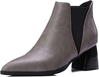Women's Pointed Toe Ankle Bootie Side Elastic Casual Comfortable Low Heel Walking Boot Chelsea Shoes