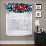 Cenefa de cortina americana, con bolsillo para barra de cómics de Estados Unidos ayuda a bloquear el sol, 150 x 45 cm