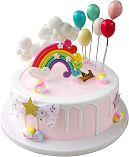 comprar comparacion Maygone Clouds - Juego de decoración para tartas de cumpleaños y cupcakes Juego de arco iris