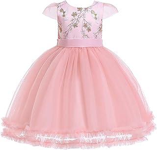 ガールズウェディングドレス 子供のスカートの女の子のドレスメッシュガーゼペチコートの子供のドレス子供のドレス 誕生日イブニングボールガウン (色 : ピンク, サイズ : 120cm)