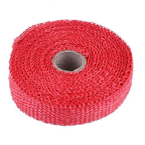 Duokon 5m Abrigo térmico de escape de automóvil, Aislamiento Aislamiento térmico de escape de cinta con 4 bridas de plástico de acero inoxidable Multicolor para automóvil para motocicleta(rojo)