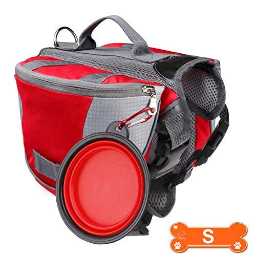 RCRunning-EU Hunderucksack Wasserdichter Leichte und atmungsaktive Hundesatteltasche mit Faltbare Schüssel für Haustiere für Wandercamping Traveling Rot S