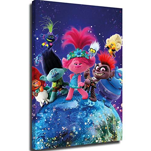 Lienzo decorativo para pared para sala de estar, lienzo de pintura, póster trolls, tour mundial, decoración de habitación de 20,3 x 30,5 cm
