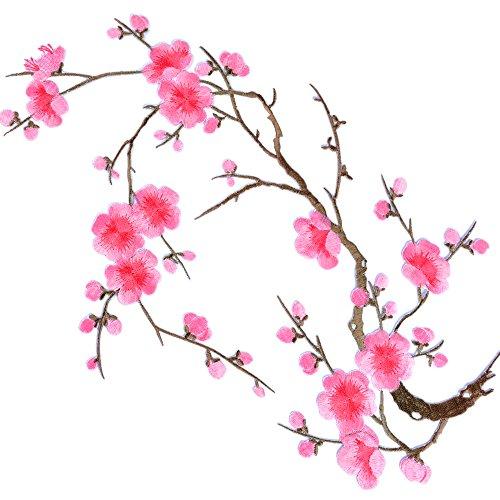 Parches Pegatinas Apliques Bordados Termoadhesivos de Flor de Ciruelo Rosado para Decoración de Ropa