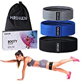 Hurdilen Resistance Bands Loop Exercise Bands Booty Bands,Workout Bands Hip Bands Wide Resistance Bands Hip Resistance Band for Legs and Butt,Activate Glutes and Thigh (Grey,Blue,Black)