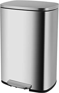 Homfa Kitchen Trash Can, 13.2 Gallon(50L) Fingerprint Proof Stainless Steel Garbage Can with Removable Inner Bucket and Hinged Lids, Pedal Rubbish Bin 16.8Lx12.3Wx25.5H inch Home Office, Soft Closure
