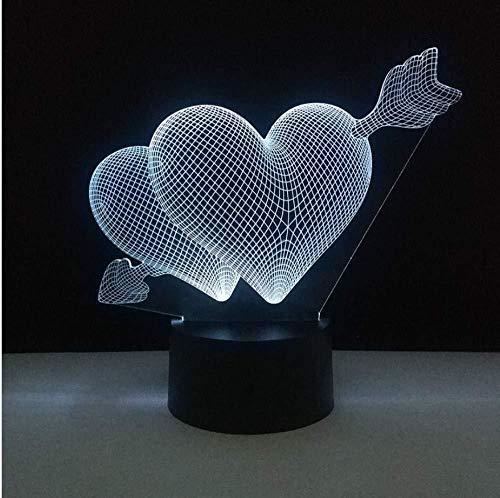 Luz nocturna 3D lámpara para habitación infantil Flecha doble corazón decoración del hogar y para codormir Con interfaz USB, cambio de color colorido