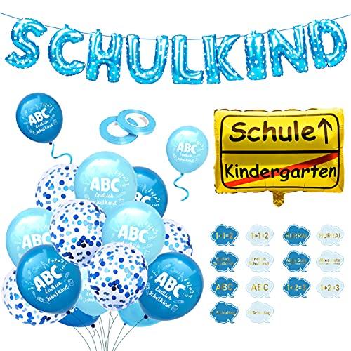iZoeL Deko Einschulung Jungen Blau Schulkind Girlanden Folienballon + Schulanfang Deko Folienballon+ 15 Blaue Luftballon Schuleinführung + Ballonbänder (Blau)