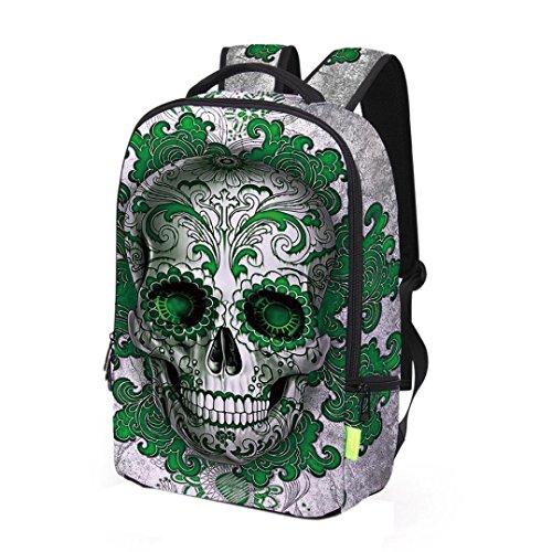 Makaor 3D Skull Printing School Backpack Travel Rucksack Laptop Bag for Boys Girls (Size: Approx 12'x16'x5'/31cmx43cmx13cm (LxHxW), Green)