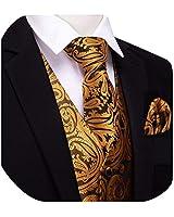 YOHOWA Gold Fashion Suit Vest for Men Tuxedo 5PCS Waistcoat Pretied Bow Tie Necktie Pocket Square Cufflinks
