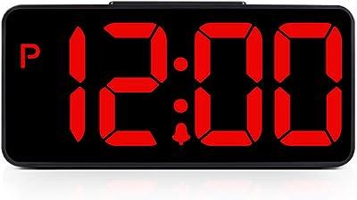 Steaean Despertador Creativo Luminoso Mute Despertador Dual USB Gran Despertador Negro Mute LED Reloj