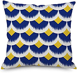 Throw Pillow Cover 18 x 18 Abstract Geometric Half Circle Diamond Navy Yellow White Spring Summer Home Decor Invisible Zipper Durable Decorative Cushion Cover Pillow Case Sofa Couch Bed Living Room