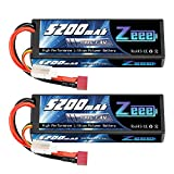 Zeee 2S Lipo Battery 7.4V 5200mAh 100C with Deans T Connector for RC Car Truck Vehicle Buggy Losi RC Model(2 Pack)