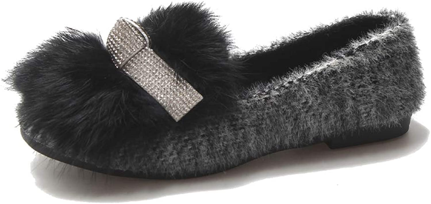 York Zhu Women Slippers Fur Slippers Home Fluffy Sliders Comfort Furry Flats Ladies shoes
