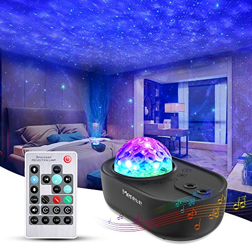 3 in 1 Star Galaxy Projector, Night Light Projector Bluetooth Music Speaker, Remote Control & 5 White Noises for Bedroom/Party/Decor, Timer Starry Projector for Kids, Adults Black