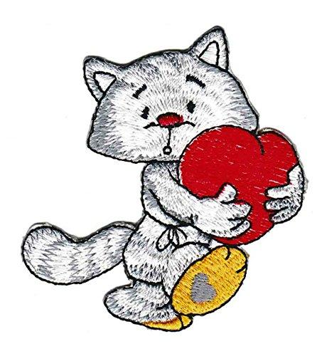 Katze mit Herz Aufnäher Bügelbild