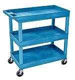 Luxor/H.Wilson 32' x 18' Tub Cart, Three Shelves (EC111-BU), Blue