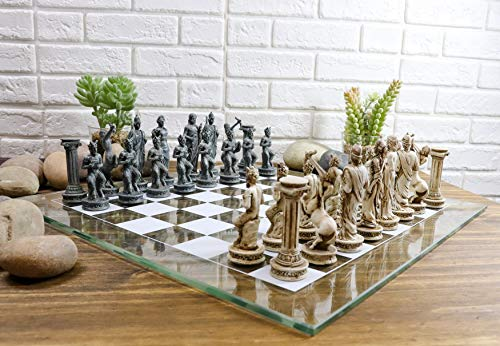 """Ebros Greek Mythology Chess Set Olympian Gods and Demigods Zeus Hera Olympus Army Felted Base Resin Chess Pieces with 15"""" by 15"""" Frosted Glass Board Set Gaming Board Game Collection"""