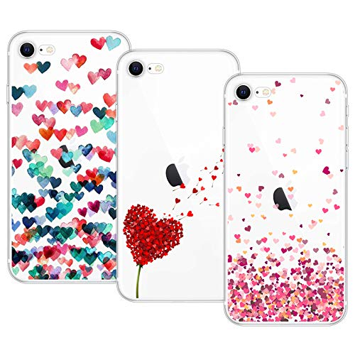 Young & Ming Cover Compatible per iPhone SE 2020/iPhone 8/iPhone 7, 3 Pack Morbido Trasparente Silicone Custodie Protettivo TPU Gel Case, Amore