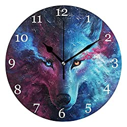 KUWT Galaxy Cool Animal Wolf Wall Clock Silent Non-Ticking 9.5 Inch Round Clock Acrylic Art Painting Home Office School Decor