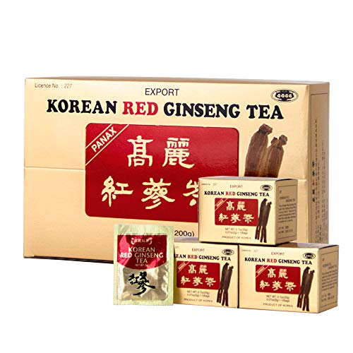Korea Insam Instant Korean Red Panax Ginseng Tea, 100 Count x 2g Tea Bags