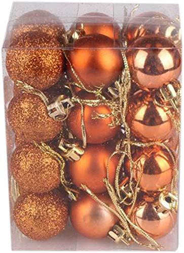 KOLACEN Christmas Tree Bauble Balls Set Xmas Hanging Ball Ornaments Decorative Decor for Home Holiday Party Wedding Decoration 40 mm 24Pcs/Box (Orange)