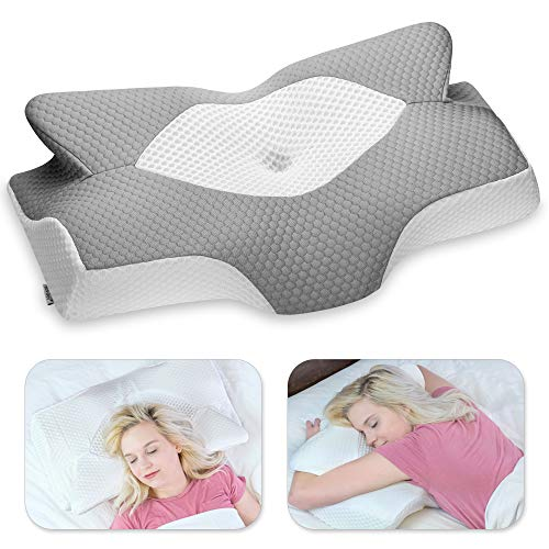 Elviros Cervical Memory Foam Pillow, Contour Pillows for Neck and Shoulder Pain, Ergonomic Orthopedic Sleeping Neck Support Pillow for Side Sleepers