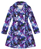 Girls Purple Galaxy Breasted Overcoat 9-11 Years Girls Wool Jacket Long Sleeves Cold Trip Dress Coat For 10T Girls Daily Formal Outwear Clothes with Pocket Fun Pattern Breasted Jacket For Little Girl