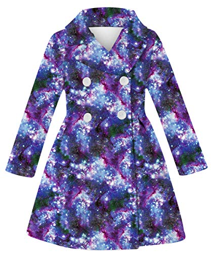 10s Girls Purple Wool Coat 3d Breasted Jacket For Girls Galaxy Outwear Clothes Cool Vivid Home Daily Little Girls Breasted Coat Cold Weather Elegant Dress Coat 8-10T Girls Birthday Outwear Coat Gift