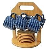 Hogar y Mas Juego de café Moderno, con Tazas Azules y Platos de bambú, con Soporte de bambú para Cocina