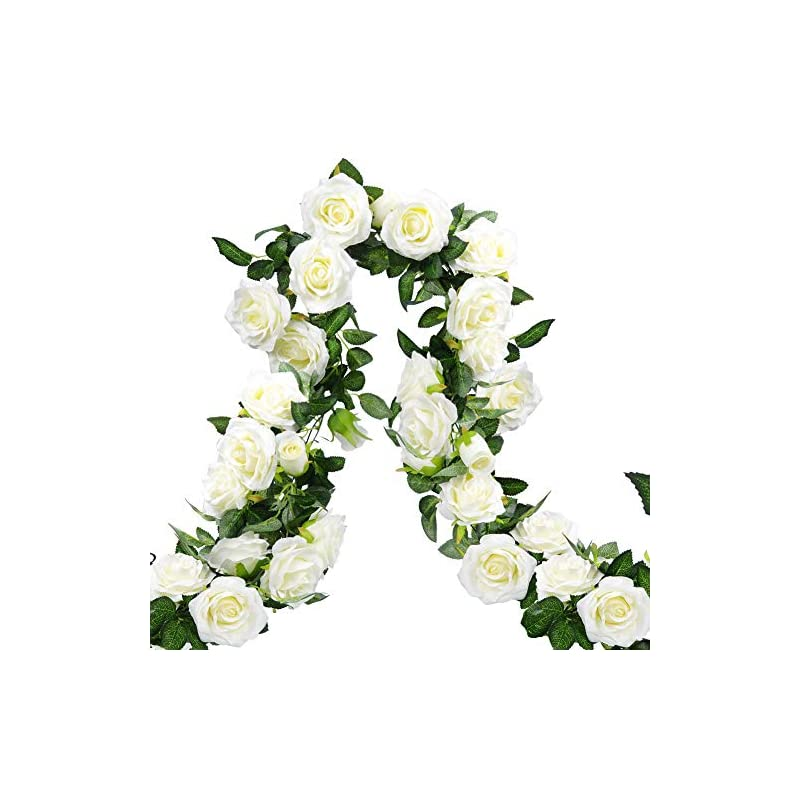 silk flower arrangements meiliy 3pcs artificial rose vines fake rose garland flower garland with flowers hanging ivy for home wedding decorations-white