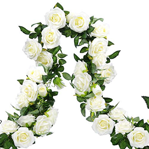 Meiliy 3pcs Artificial Rose Vines Fake Rose Garland Flower Garland with Flowers Hanging Ivy for Home Wedding Decorations-White