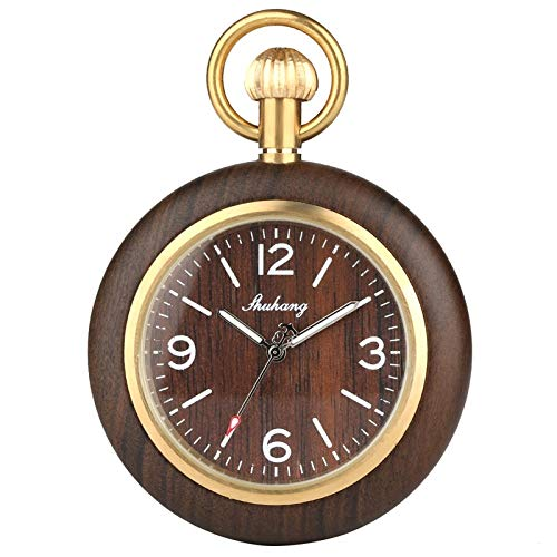 UIEMMY Pocket Watch Retro Unique Royal Black Sandalwood Quartz Pocket Watch Fashion Round Dial Wood Watch with 30cm Gold Chain Men Hour Clock Gifts