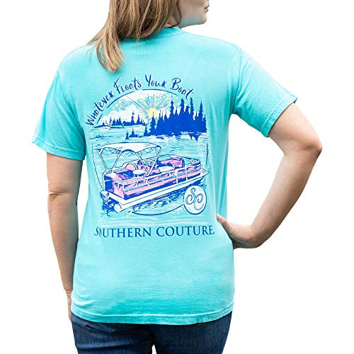 Southern Couture Floats Your Boat Lake Lagoon Blue Cotton Fabric Comfort Fashion T-Shirt Large