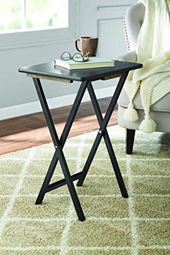 PJ Wood Folding TV Tray & Snack Table - Black Finish Rubberwood