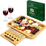 Bamboo Cheese Board and Knife Set - Wooden Charcuterie Platter & Serving Tray with Cutlery (17.5' x 13')