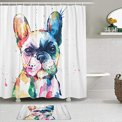 MEJAZING Shower Curtain Sets with Non-Slip Rugs,Frenchie French Bulldog Original Watercolor of Dog Funny Happy,Waterproof Bath Curtains Hooks and Bath Mat Rug Included