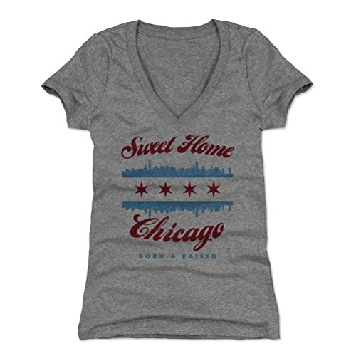 Chicago Shirt for Women (Women's V-Neck, Small, Tri Gray) - Sweet Home Chicago