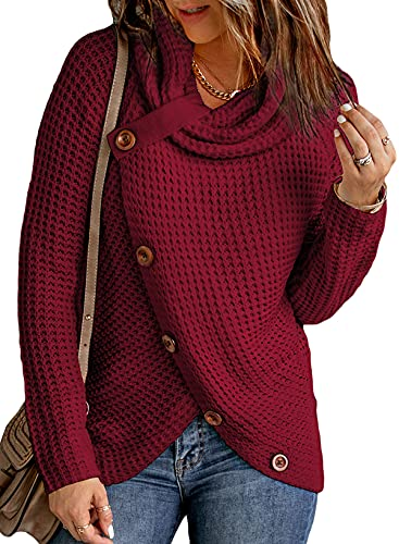 Itsmode Ladies Chunky Turtle Cowl Neck Knit Wrap Asymmetric Hem Button Plus Size Casual Cardigan Sweaters for Women Fall Pullover 1X Red