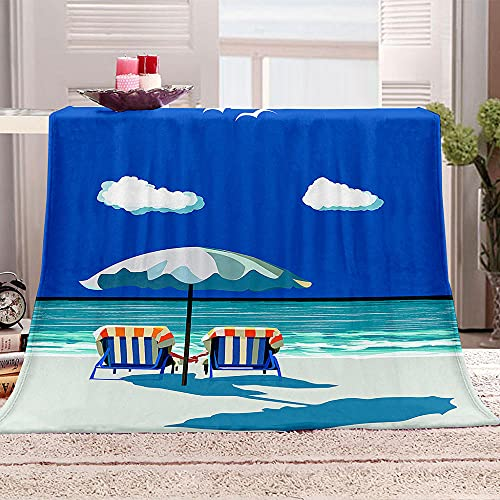 Mantas para Sofa De Franela 3D Sillas de Playa sombrillas Manta con Estampados para niños Adultos Manta de Microfibra Suave cálida para Cama sofá y Viaje 100x130cm