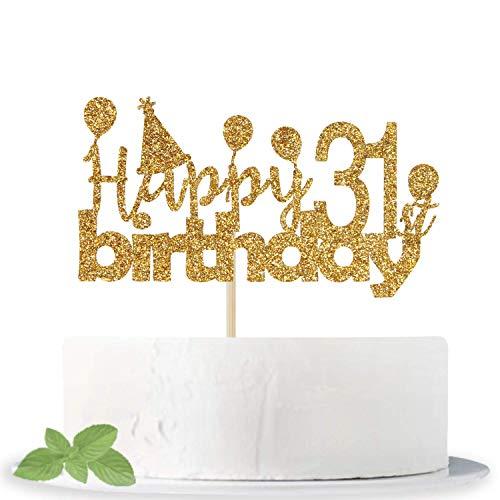 Decoración para tarta con purpurina dorada para 31 cumpleaños – Hello 31 – Cheers to 31 Years – I'm 31 Bitches – Happy 31st Birthday/Anniversary Party Supplies