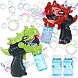 Latocos 2Stk. Seifenblasenpistole Dinosaurier Seifenblasenmaschine Bubble Machine Spielzeug Automatisch Seifenblasenspielzeug mit Musik Geburtstag Geschenk Sommer Draussen Spielzeug für Kinder Jungen