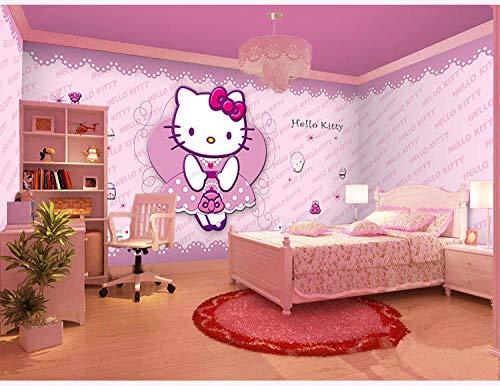 Fototapete Kinderzimmer Tapete Rosa Hellokitty Katze Nahtlose Full House CustomWallpaper 3D Fototapete Paste Grenze Wandbild Tapete Fototapete Wandbilder-400cm×280cm