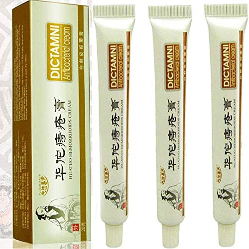 Paquete de 3 Cremas para hemorroides Huatuo -DICTAMNI - Crema antibacteriana -Crema china para hemorroides a base de hierbas