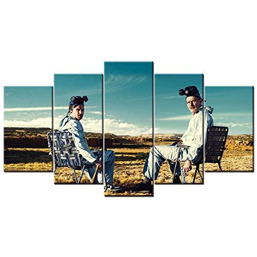FJNS 5 Pezzi di Arte della Parete Breaking Bad Dipinti su Tela Poster Stampati HD Cornici per Quadri modulari Soggiorno Arredamento Camera da Letto,A,30×40×2 30×60×2 30×80×1
