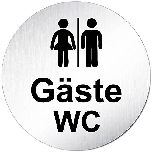 XXL Gäste WC Toilettenschild • Ø 100mm • Aluminium (eloxiert) • Türschild Hinweisschild