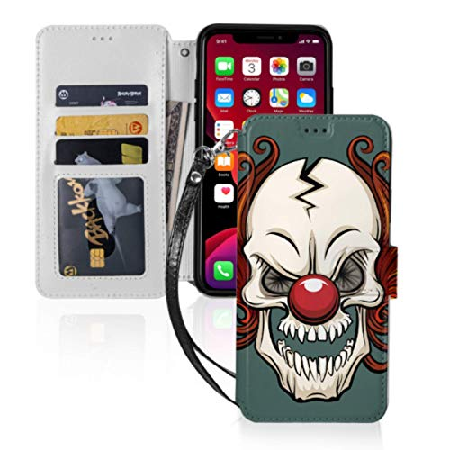 Evil Scary Clown Halloween Monster Joker Premium Pu Leather Wristlet Flip Card Holder for Back of Phone with Card Slots & Stand iPhone Pro Max Case iPhone 11pro Max Case for iPhone