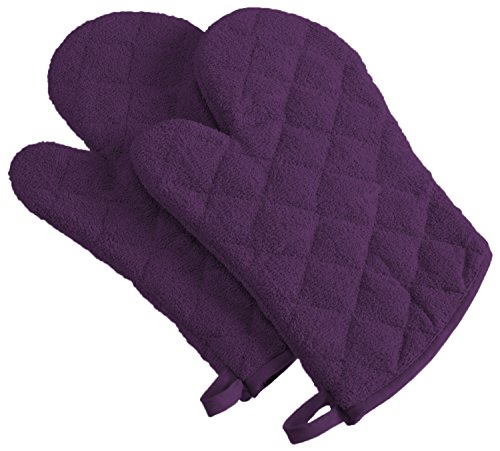 DII Basic Terry Collection 100% Cotton Quilted, Ovenmitt, Eggplant 2 Count