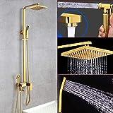 No brand Fácil de instalar ducha Golden Shower Full Set pared de cobre fijado al calor y frío Tower System Mezclador elevable y giratorio alcachofa ducha descalcificador