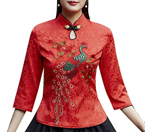 securiuu Damen Vintage Langarm chinesische Hemd Stickerei Tang Qipao Shirt Bluse Gr. US Large, 1